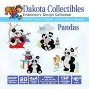 Cute Pandas 20 4x4 - Dakota Collectibles Embroidery Design Collection