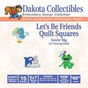 Lets Be Friends Quilt Squares - Dakota Collectibles Embroidery Design Collection