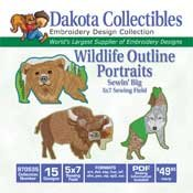 Wildlife Outline Portraits -  Dakota Collectibles Embroidery Design Collection