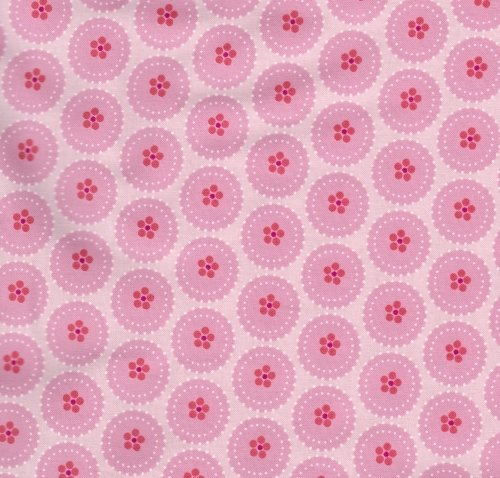Andover Fabric Pink Buttons A7192 PE