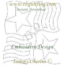 QOV3  Stars N Stripes 3 E2E - Embroidery Format - Multiple Sizes