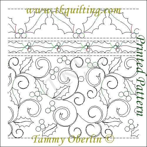 TKQ 14 Holly & Curls E2E 2 Sash & 5 Holly Border #R110