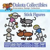 Stick Figures (20 4x4) - Dakota Collectibles Embroidery Design Collection