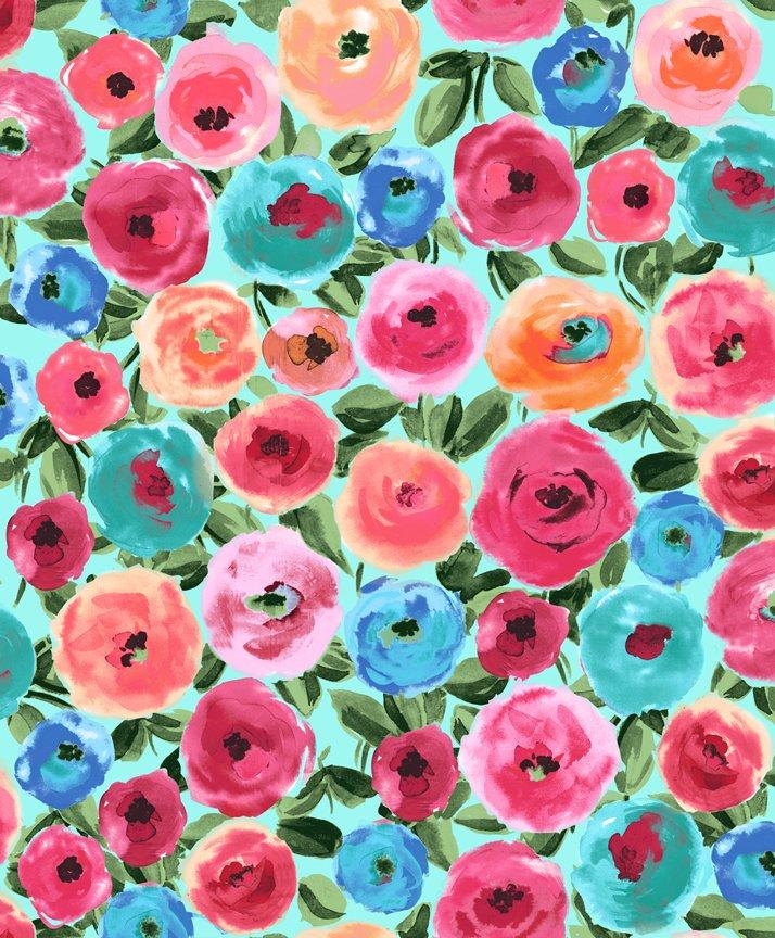 Sweet Caroline 26987-Q Main Floral Turquoise