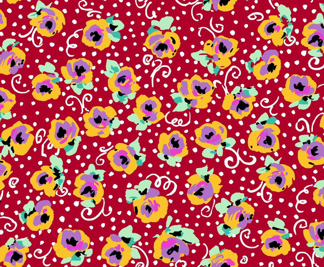 Adeline 27032-R Stylized Tossed Floral Red