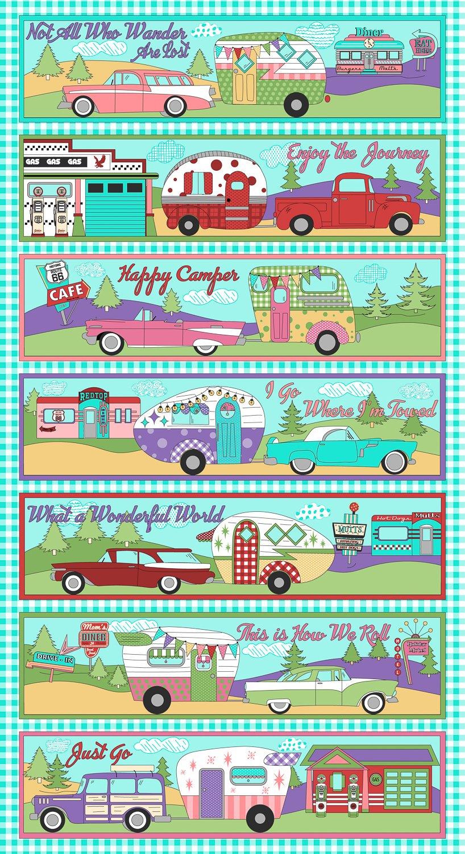 Retro Road Trip 3617-1 Camper Panel Aqua