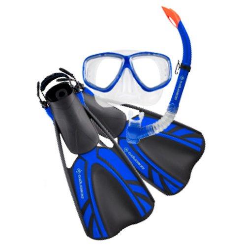 Oceanpro Turtle Junior Mask, Snorkel & Fin Set 1-4 - Blue