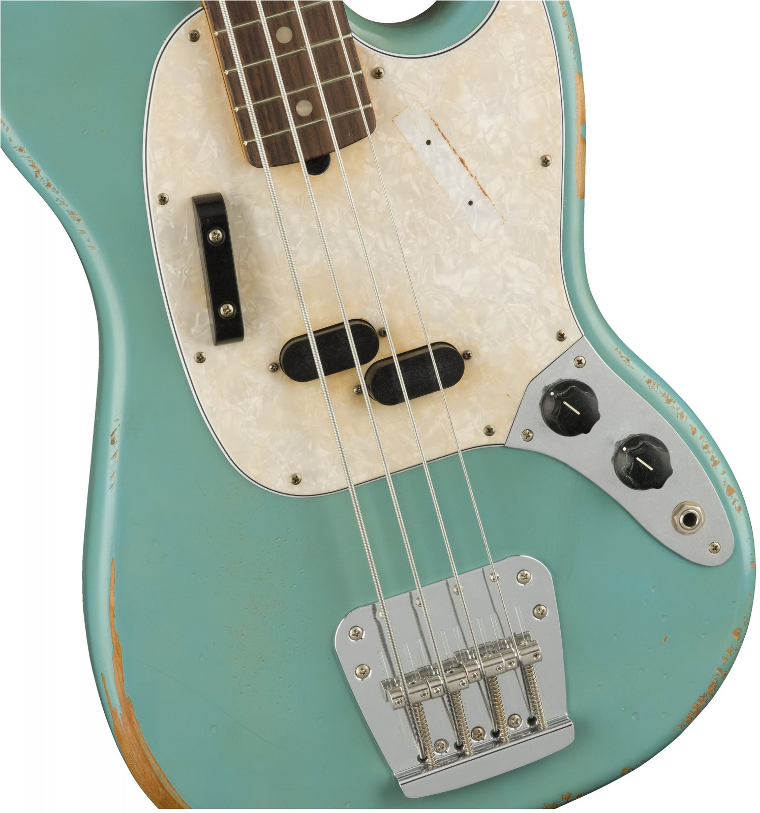 Fender JMJ Mustang Bass - Road Worn Faded Daphne Blue
