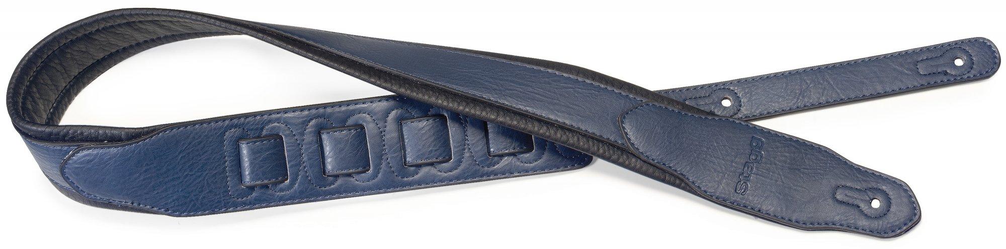 Stagg SPFL40 Adjustable Leather Guitar Strap Blue