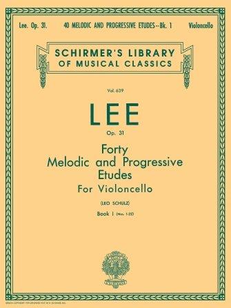 Lee 40 Melodic and Progressive Etudes For Cello Book 1