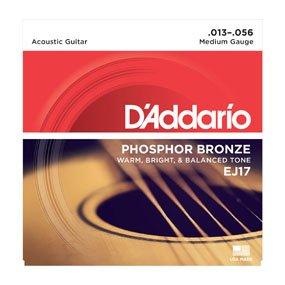 D'Addario EJ17-3D Phosphor Bronze Acoustic Guitar Strings Medium 13-56(3 Pack)