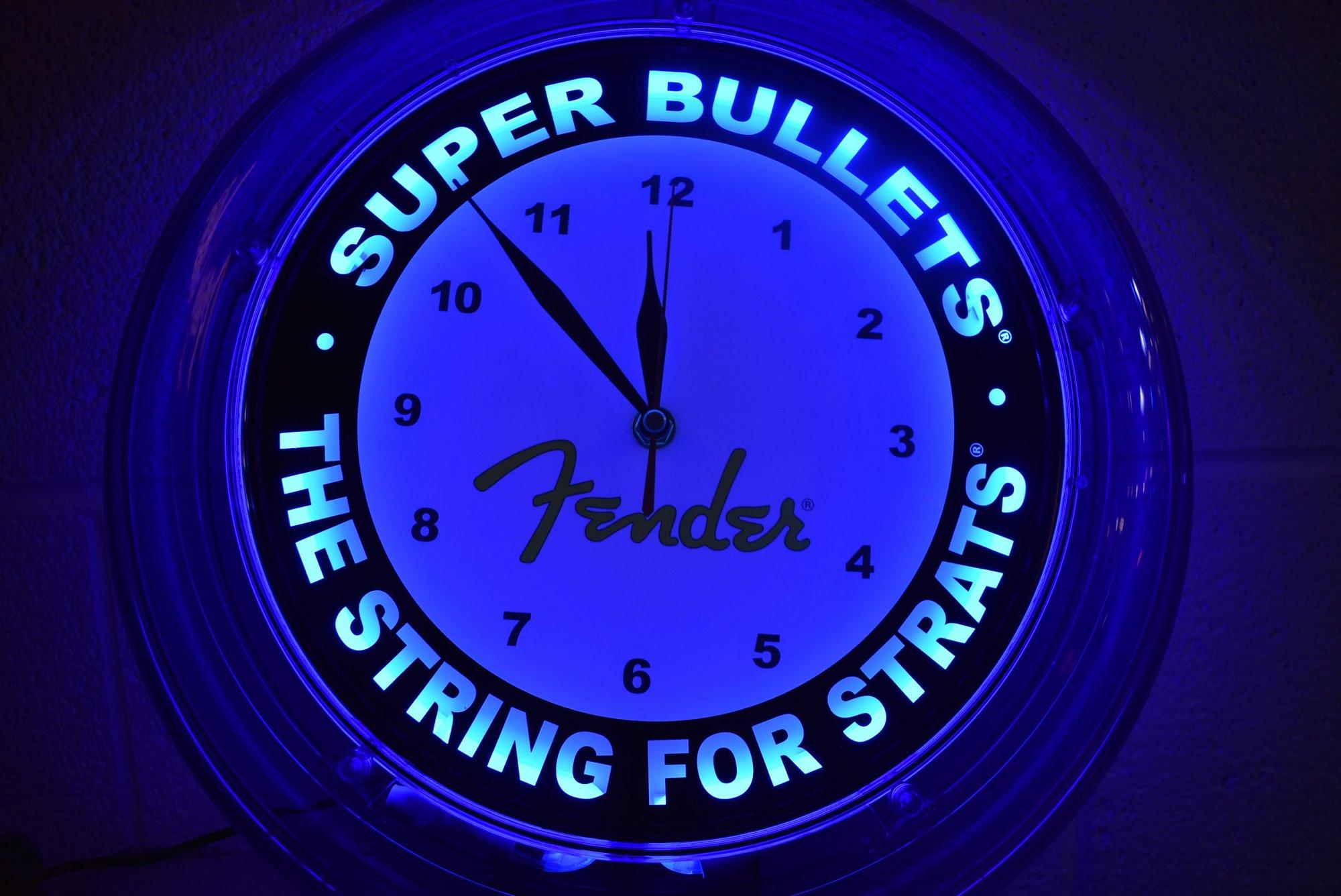 Fender Super Bullets Neon Clock