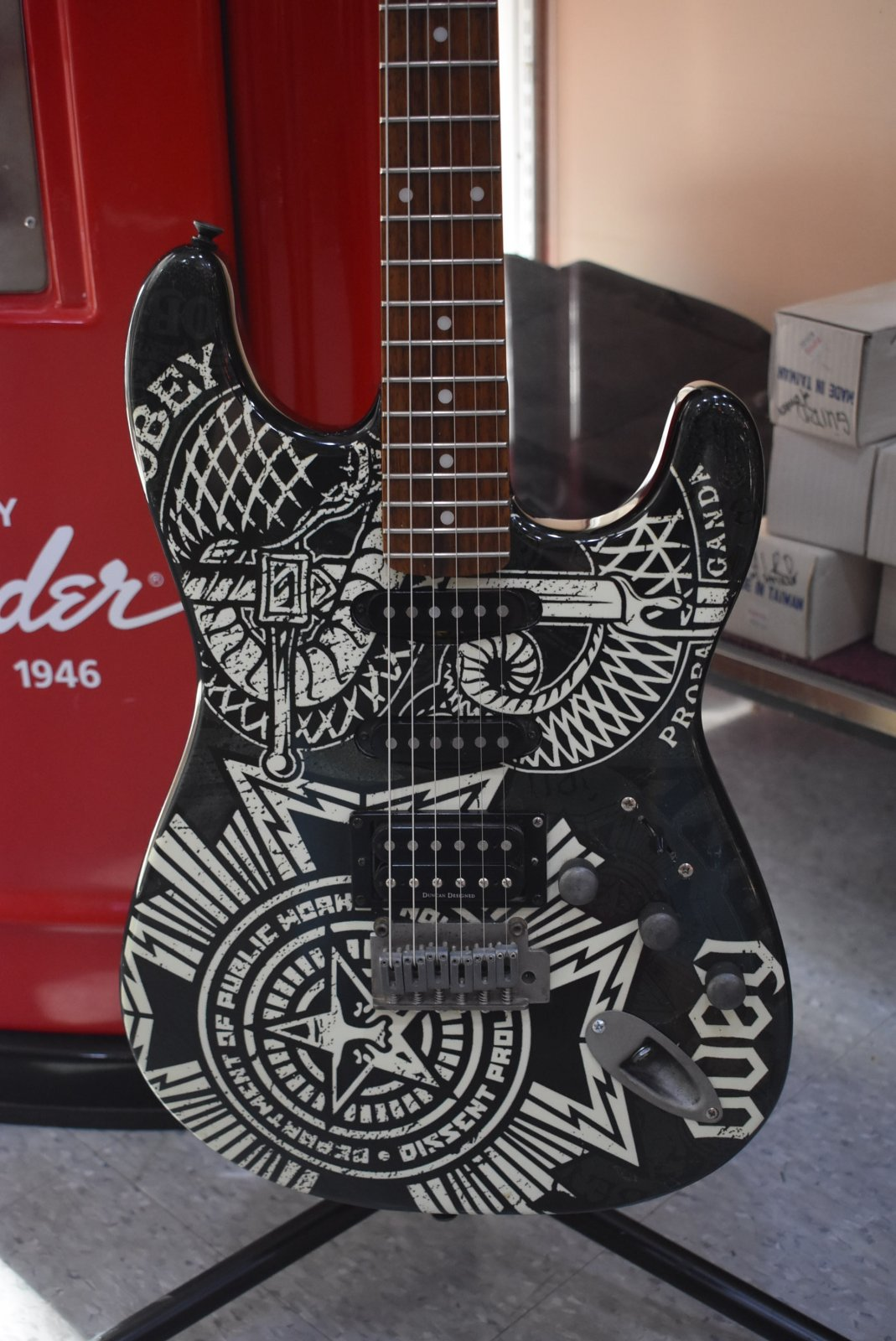 2006 Squier Obey Dissent Graphic Stratocaster