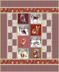 Andover Woodland Winter Forest Friends Quilt Kit  Red