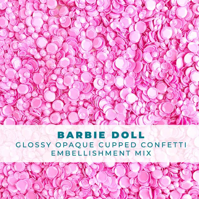 Barbie Doll - Glossy Opaque Pink Sequin-like Confetti mix
