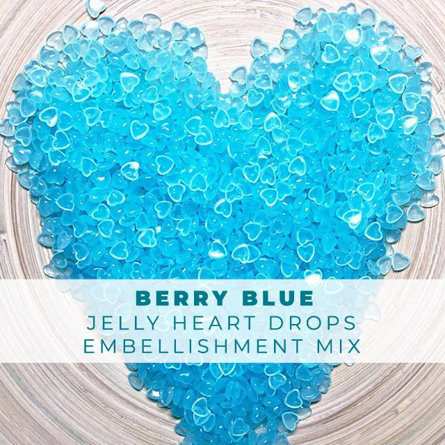 Berry Blue- Jelly Drop Hearts Embellishment Mix