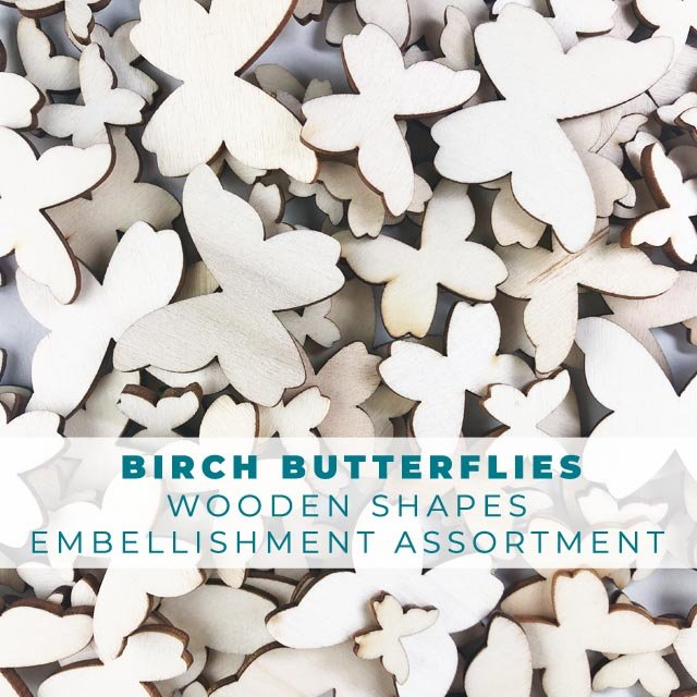 Birch Butterflies Wooden Shape Embellishments