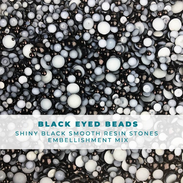 Black Eyed Beads - Bauble Embellishment Mix
