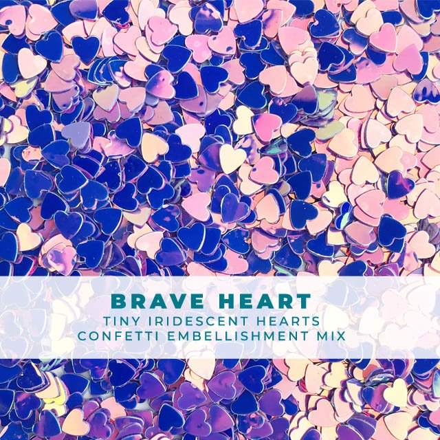Brave Heart - Itty-bitty iridescent heart confetti