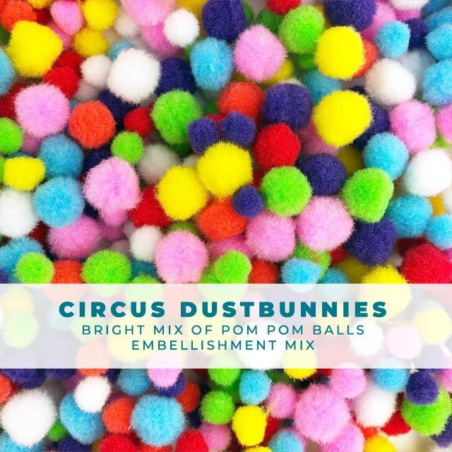 Circus Dustbunnies - Multi-Colored Pom Pom Embellishment Mix