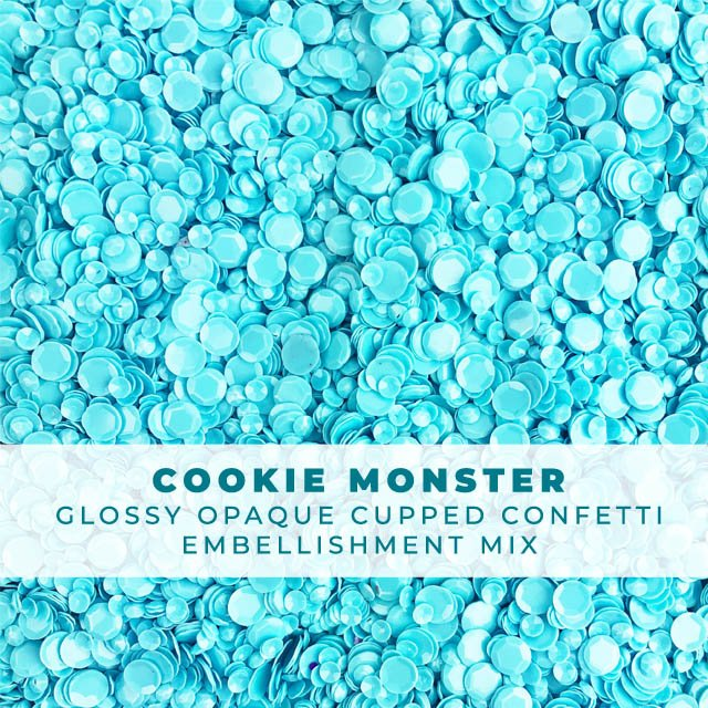 Cookie Monster - Glossy Opaque Blue Sequin-like Confetti mix