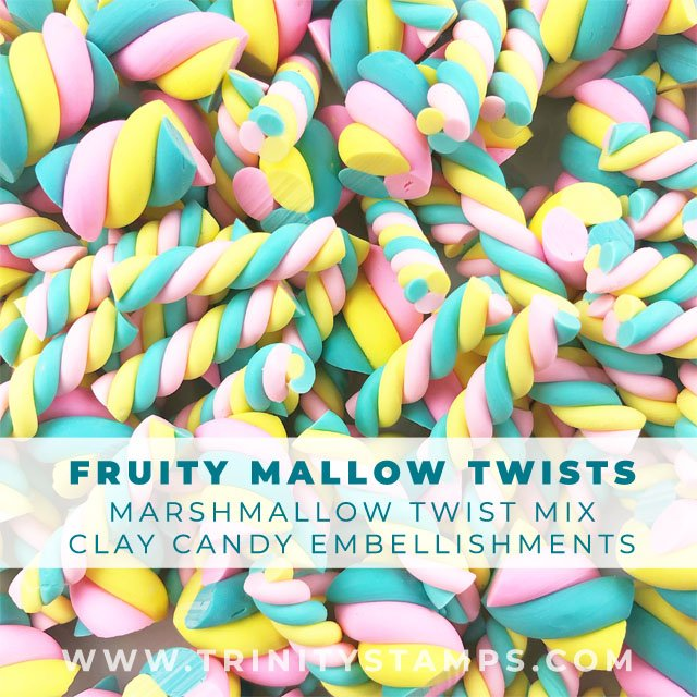 Fruity Mallow Twists: Faux marshmallow clay candies