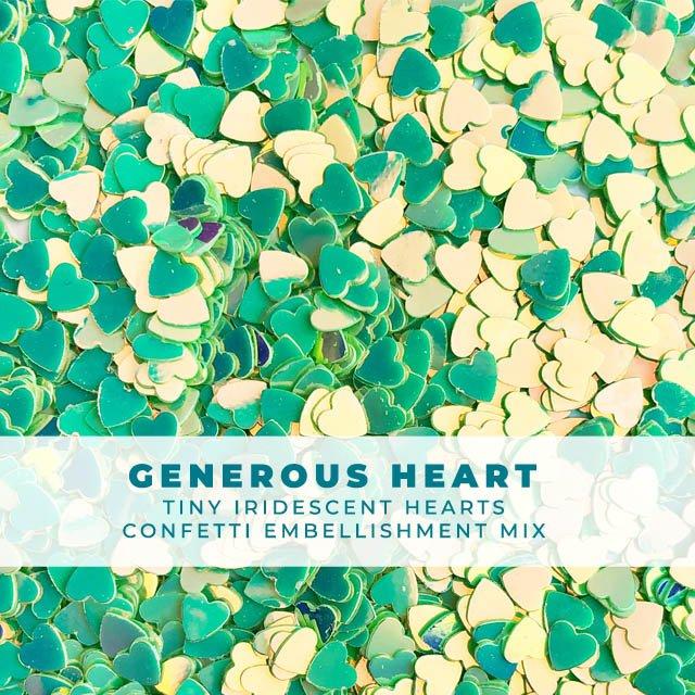 Generous Heart - Itty-bitty iridescent heart confetti