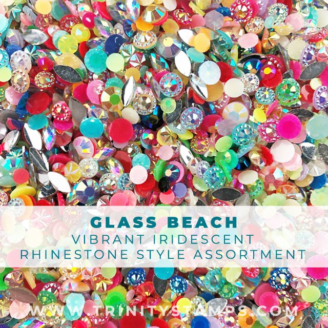 Glass Beach: mixed style, shape, and color of acrylic Rhinestones