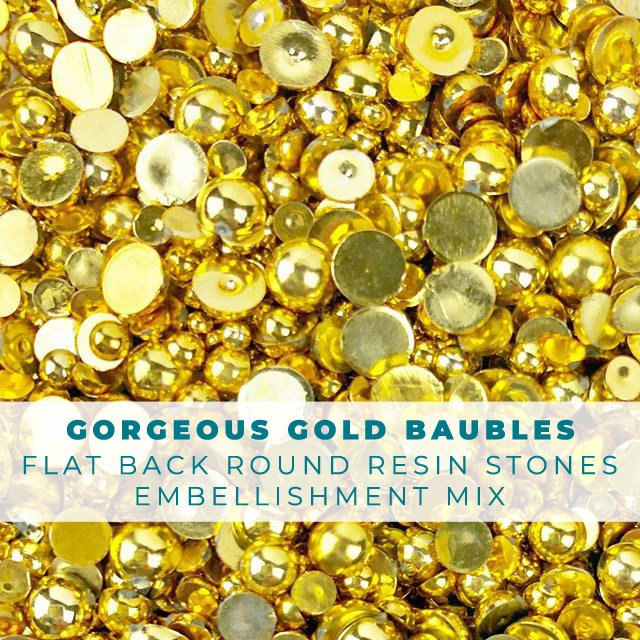 Gorgeous Golden Baubles - Shiny Gold Pearls Embellishment Mix