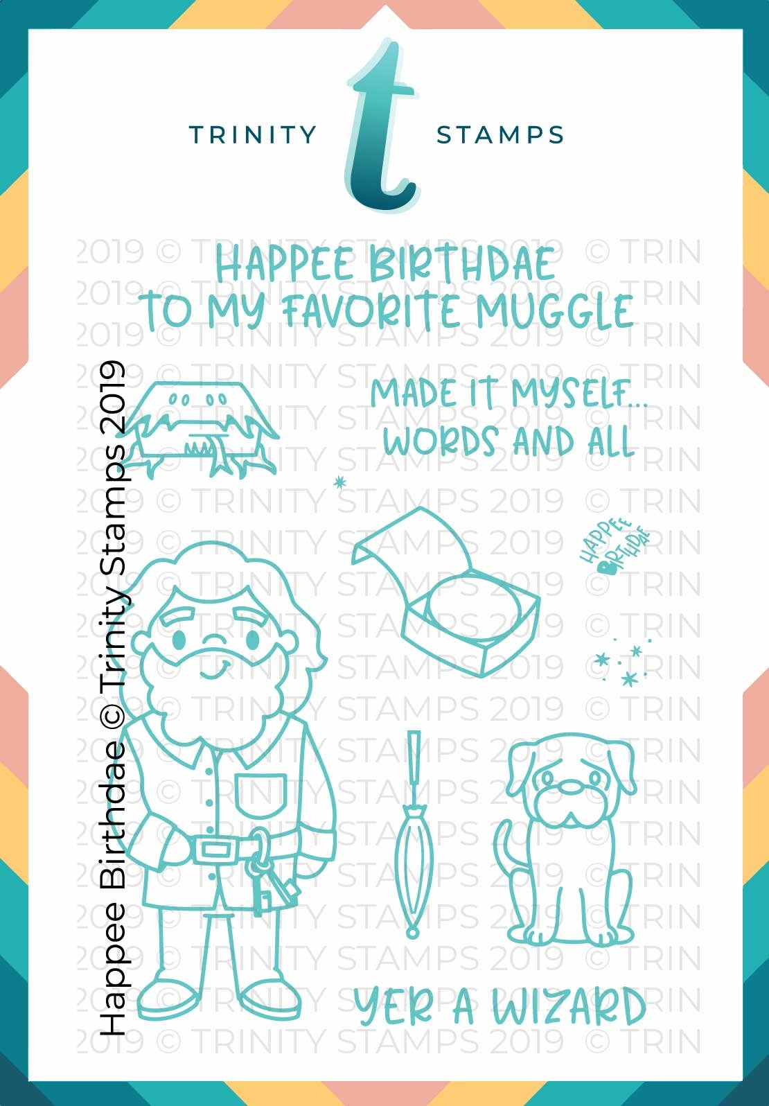 Happee Birthdae 3x4 Stamp Set