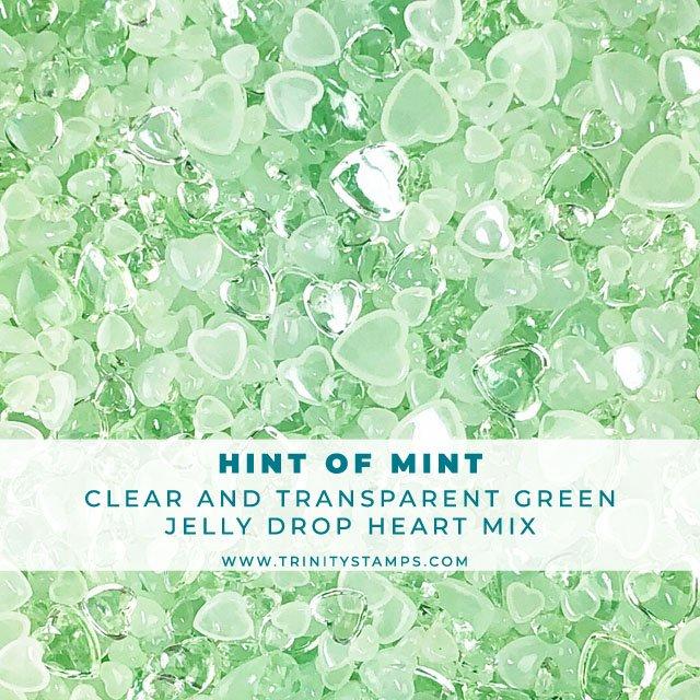 Hint of Mint - Jelly Drop Hearts Embellishment Mix