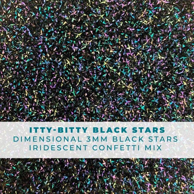 Itty Bitty Black Stars: Iridescent 3-D star confetti mix