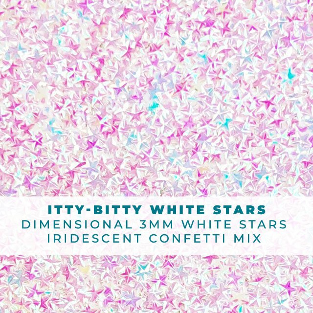 Itty Bitty White Stars: Iridescent 3-D star confetti mix