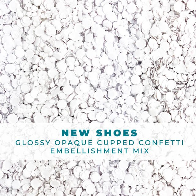 New Shoes - Glossy White Sequin-like Confetti mix