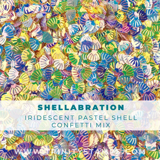Shellabration: Tiny Shell Confetti in pink yellow and white.