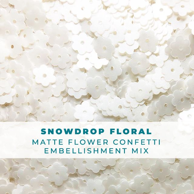 Snowdrop floral- Flower Embellishment Mix