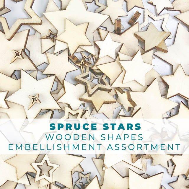 Spruce Stars Wooden Shape Embellishments