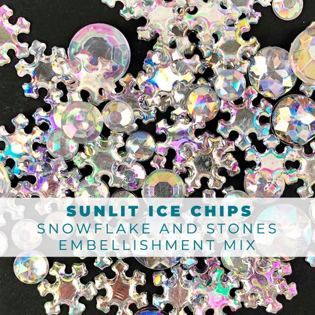 Sunlit Ice Chips snowflakes and stones embellishment mix