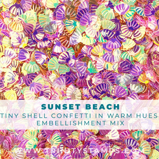 Sunset Beach: Tiny Shell Confetti in warm color hues