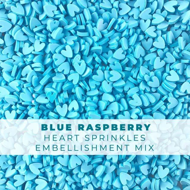 *Sprinkles* Blue Raspberry Heart Sprinkle Embellishments