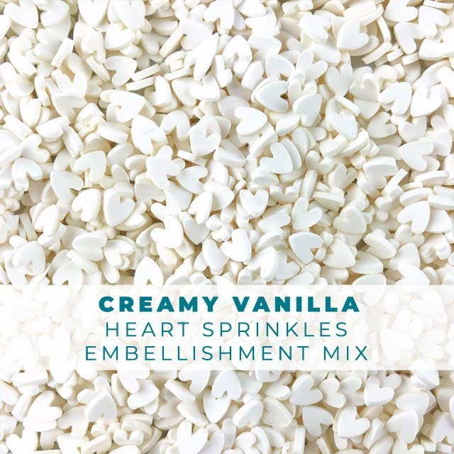 *Sprinkles* Creamy Vanilla Heart Sprinkle Embellishments