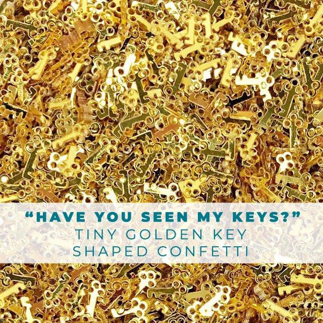 Have you seen my keys? Golden Key Shaped Confetti Embellishment Mix