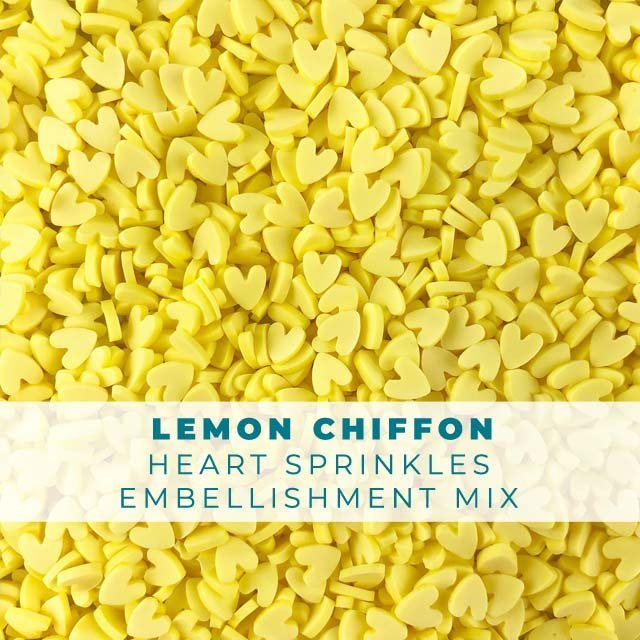 *Sprinkles* Lemon Chiffon Heart Sprinkle Embellishments