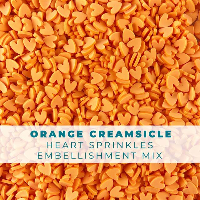 *Sprinkles* Orange Creamsicle Heart Sprinkle Embellishments