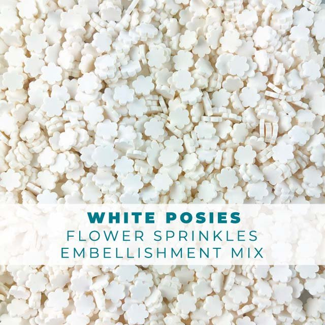 White Posies Sprinkle Embellishment Mix