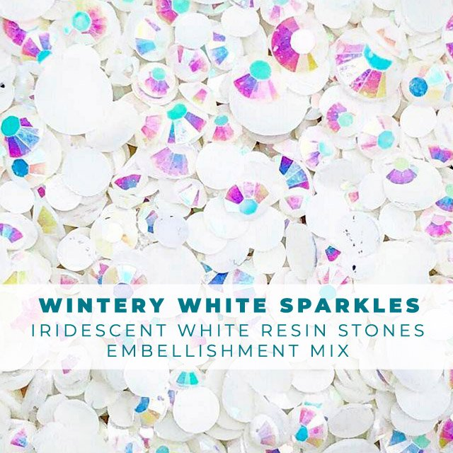 Wintery White Sparkles Rhinestone Embellishment Mix