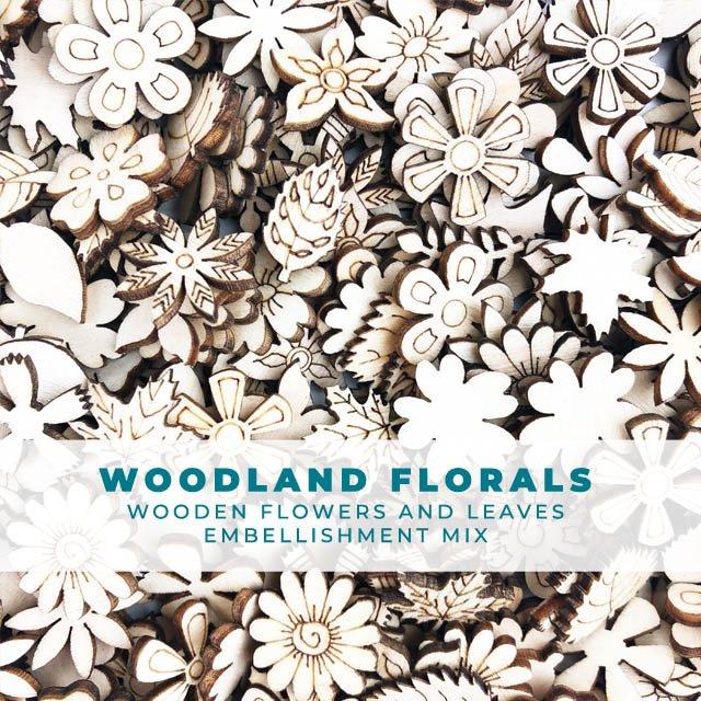 WOODland florals - Wooden Shape Embellishments