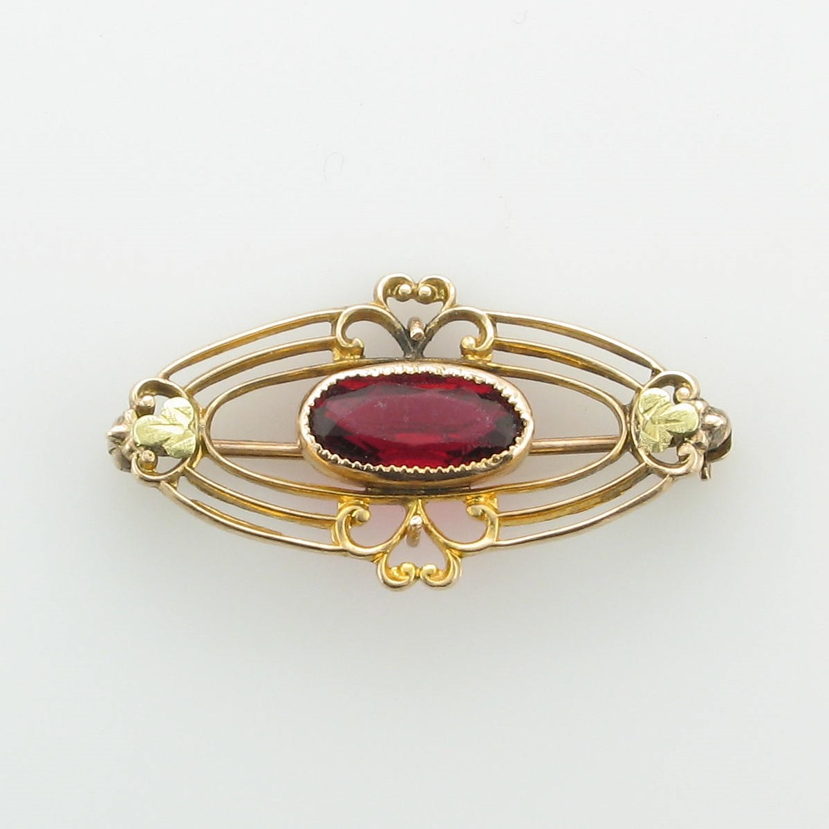 Vintage Garnet Pin set in 10k Yellow Gold