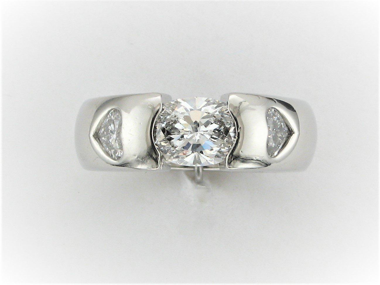 Designer Oval and Heart Diamond Ring Set in Platinum