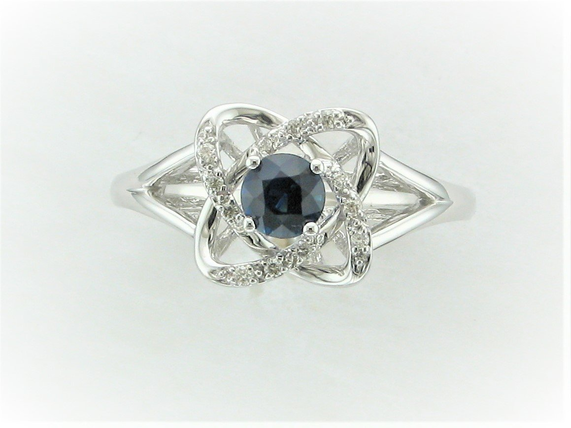.23 Carat Blue Sapphire and Diamond Ring Set in 10 Karat White Gold